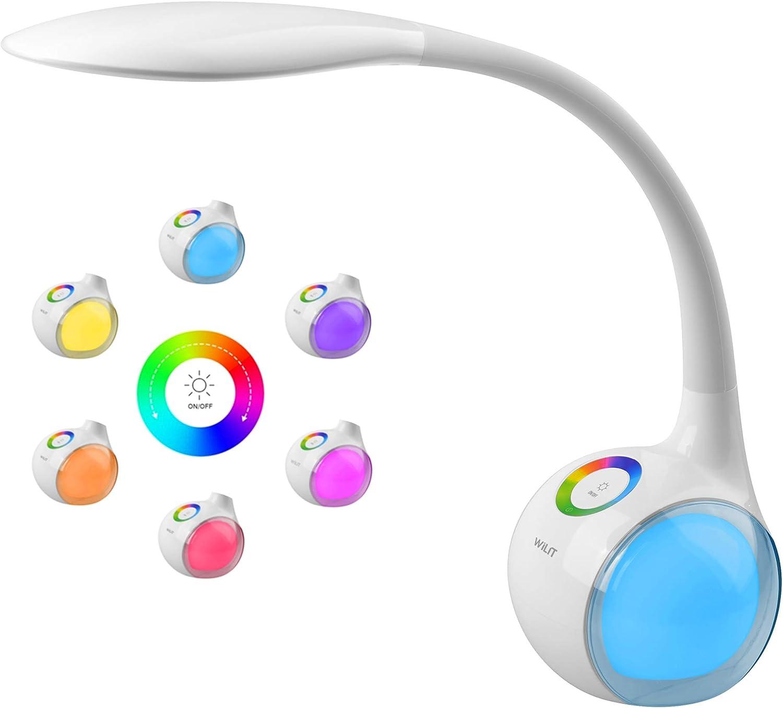 WILIT T3 Lámpara de Escritorio Táctil, Flexo LED Regulable, Lámpara de Mesa Ajustable, 256 RGB Luz de Color, 3 Niveles de Brillo, Brazo Tipo Cuello de Cisne, Protección para los Ojos, 5W, Blanco