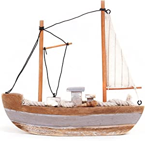 Waroom Home Wooden Sailboat Decor, Handmade Vintage Nautical Decor Sailing Boat Yacht Decoration, Wooden Display Sailboat with Conch Sea Shell & White Striped Sails, 8''H (Sailboat-A)