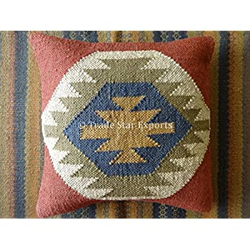 Amazon.com: Vintage Kilim Pillow Case 18x18 Hand Woven Jute ...