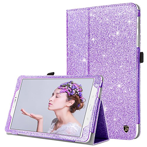 Samsung Galaxy Tab E 9.6 Case, DUEDUE Sparkly Glitter Slim Faux Leather Folio Stand Full Body Protective Cover Case for Galaxy Tab E Wi-Fi/Tab E Nook 9.6 Inch Tablet Verizon 4G LTE Version, Purple
