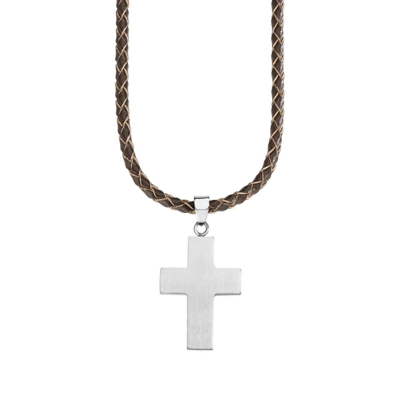 s.Oliver Kinder-Kette Jungen längenverstellbar mit Kreuz-Anhänger Edelstahl mattiert Leder 40 + 3 cm 2018848