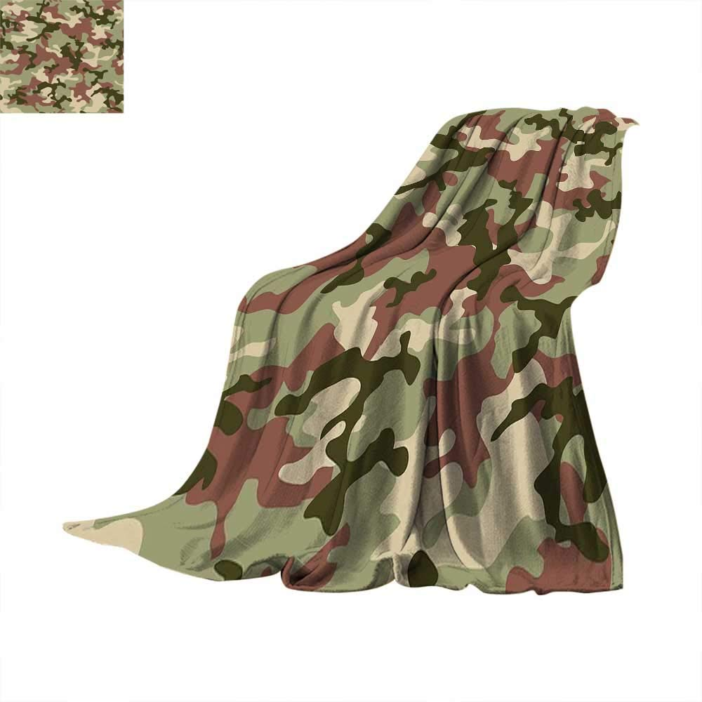 color13 60 x 60 inch Camo King Flannel Blanket Old Fashioned Camouflage Pattern Classical Jungle Survival Theme Weave Pattern Extra Long Blanket 60 x 36 inch Army Green Pale Green Cream