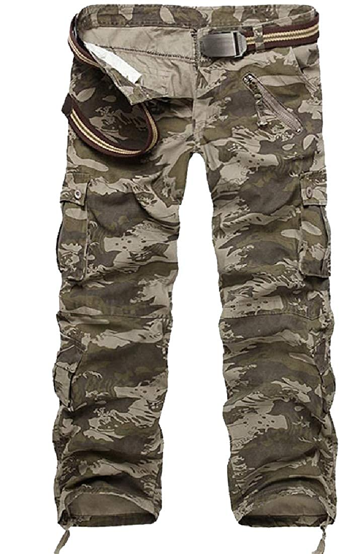 Comaba Mens Oversized Multi-Pockets Cargo Trousers