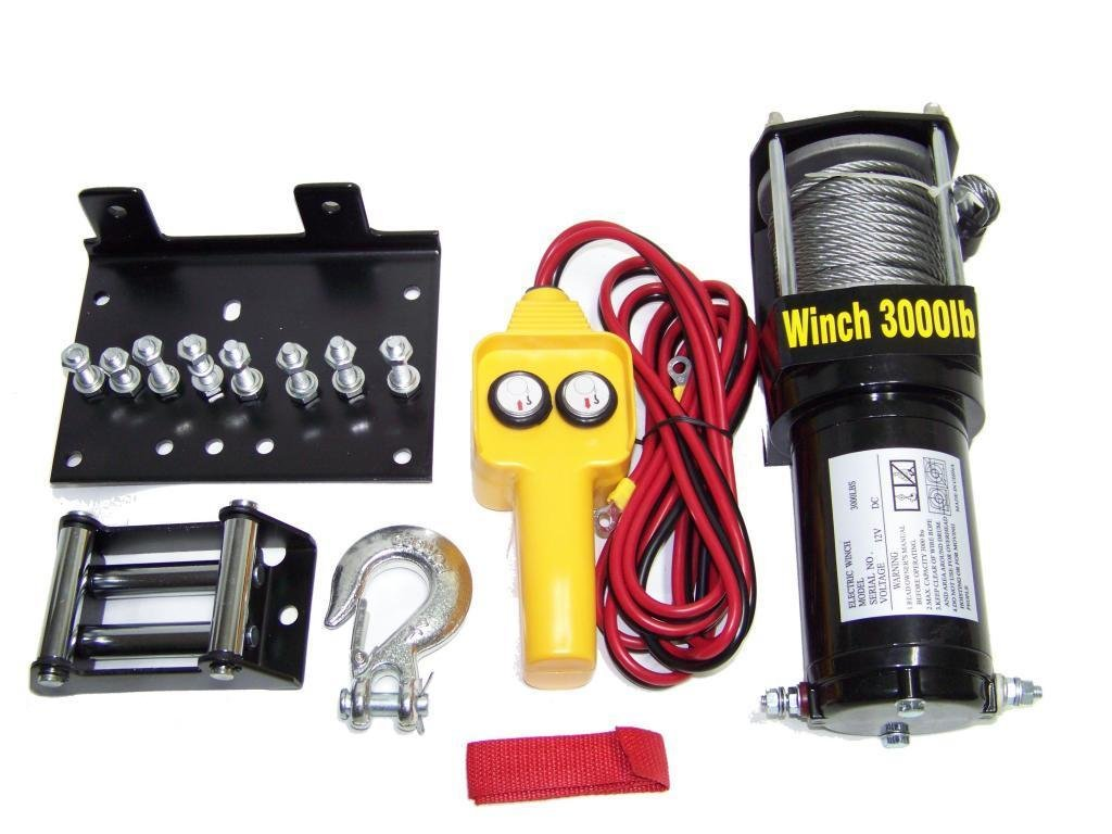 Hoteche 3000 Lb Capacity Power Cable Atv Winch Kit 12 Volt Recovery Towing Tow