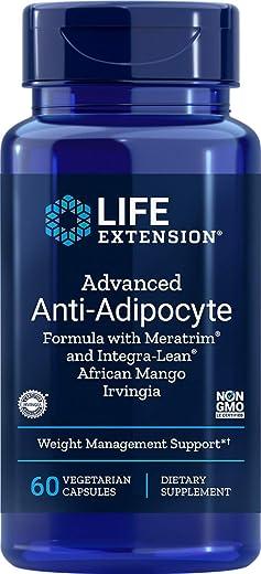 Life Extension advanced Anti-Adipocyte Formula with meratrim and IntegraLean, African Mango Irvingia 60 Vegetarian Capsules