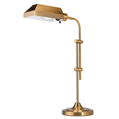 CO-Z Gold Pharmacy Desk Lamp - 25 inches Plus Size - Mid-Century Antique Brass Finish Reading Lamp with 10W LED Bulb, for Office Living Room Side Table Bedside - UL Listed