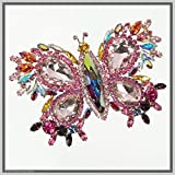 Handmade Jewelry Art Butterfly Brooch Pin Pink-Winged Swarovski Crystal Rhinestones
