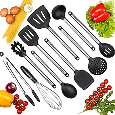 Mr and Mrs White Kitchen Utensils Set - Best 10 pc Set of Nonstick Cooking Utensils - Silicone and Stainless Steel - Tong, Spoon, Spatula Tools, Pasta Server, Ladle, Strainer, Whisk - FDA Approved