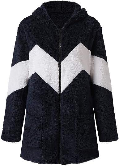 Womens Fluffy Long Sleeve Hooded Cardigan Sweater Coat Jumper Winter Outwear 8C