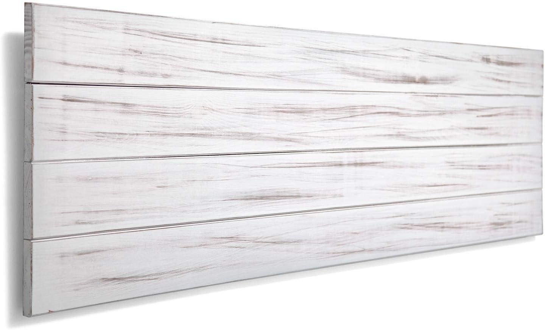 SUENOSZZZ-ESPECIALISTAS DEL DESCANSO Cabecero de Cama de Madera TREVINCA Color Blanco Vintage Cabecero de Tablas Horizontales. nordicos en cabeceros para Camas de 135