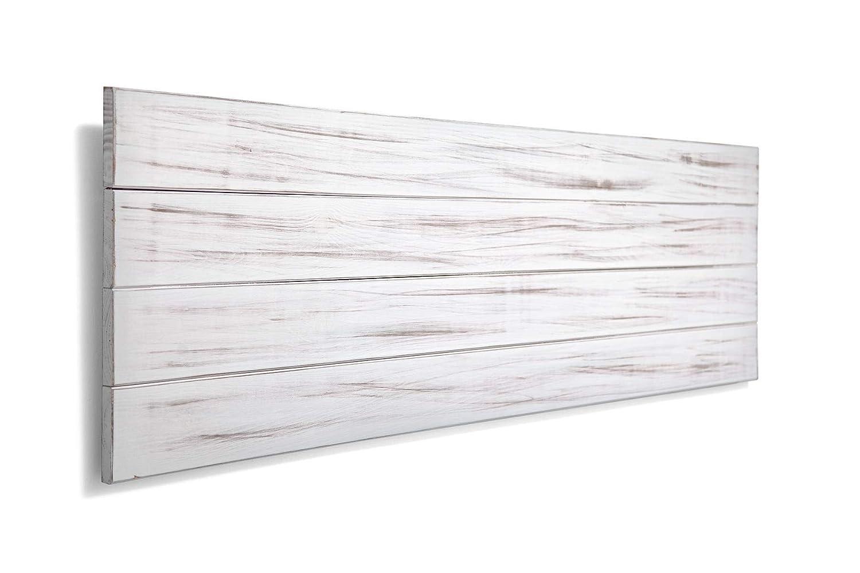 SUENOSZZZ-ESPECIALISTAS DEL DESCANSO Cabecero de Cama de Madera TREVINCA Color Blanco Vintage Cabecero de Tablas Horizontales nordicos en cabeceros para Camas de 135