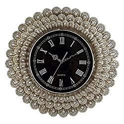 Round Wall Clock Silent Battery Operated 22 Inch Gold Peacock Feathers Design Frame with Black Roman Numerals Dial Unique Home Decorations of Living Room Bedroom or Cafe Bar for Adults and Seniors