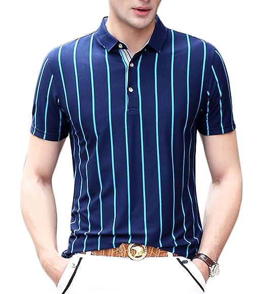 9dbfd6c4 Plaid&Plain Men's Classic Turn Down Collar Striped Polo Short Sleeve T- Shirts ...