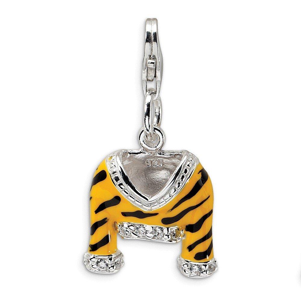 Roy Rose Jewelry Sterling Silver Amore la Vita CZ Polished Enamel Tiger Jacket w/Lobster Clasp Charm