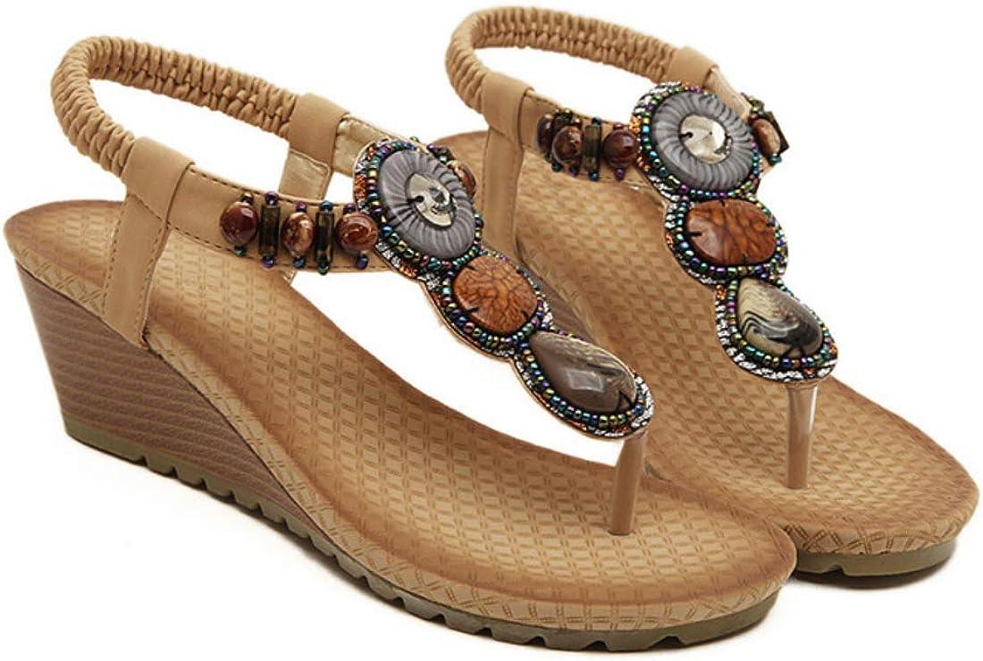 Aiweijia Womens Sandals Beaded Open Toe Sandals Wave Casual Summer Beach Shoes