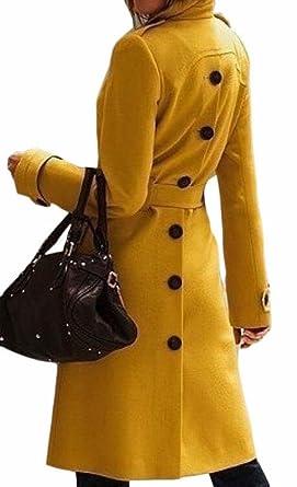 acd8b4daeea96 Amazon.com: GAGA Womens Back Split Overcoat Woolen Classic Trench ...