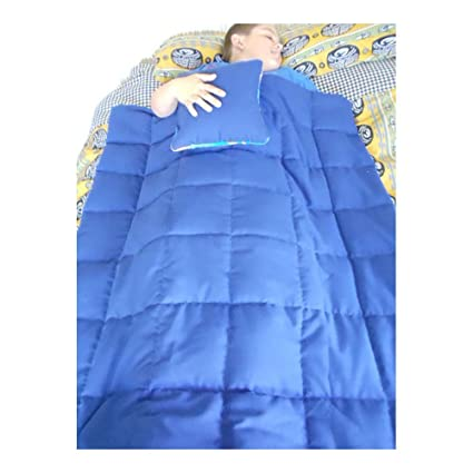 Com 5 Pd Solid Blue Weighted Blanket Pillow Set Autism Adhd Custom Insomnia Office Products