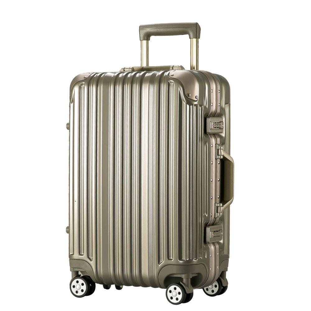 [トラベルハウス]Travelhouse スーツケース キャリーバッグ アルミフレーム ABS+PC 鏡面 超軽量 TSAロック B01L1J2VC8 L|ライトゴールド ライトゴールド L