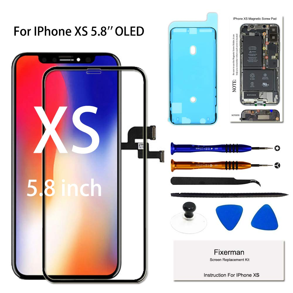 Fixerman for iPhone Xs OLED [NOT LCD] Screen Replacement 5.8 inch, 3D Touch Display Digitizer Assembly with Repair Tools, Compatible with Model A1920, A2097, A2098, A2100 by Fixerman