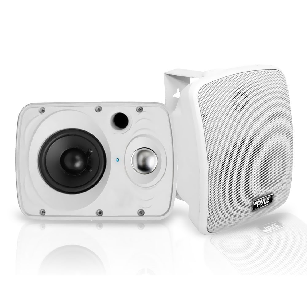 Outdoor Waterproof Wireless Bluetooth Speaker - 6.5 Inch Pair 2-Way Weatherproof Wall/Ceiling Mounted Dual Speakers w/Heavy Duty Grill, Universal Mount, Patio, Indoor Use - Pyle PDWR64BTW (White) by Pyle