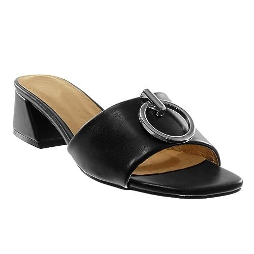 Angkorly Zapatillas Moda Sandalias Mules Slip-on Mujer con Detalle de Aro Metálico Tacón Ancho Alto 4 cm: Amazon.es: Zapatos y complementos