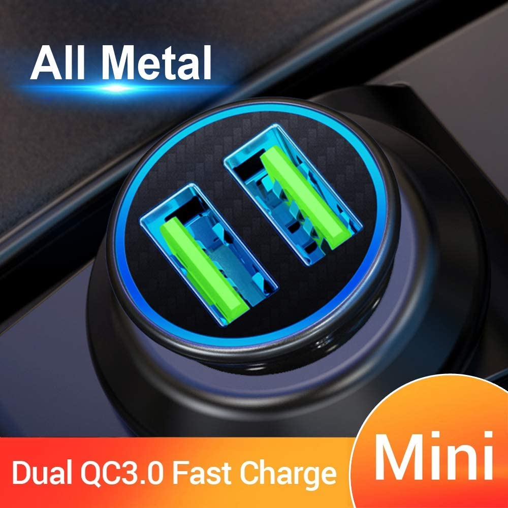 Quick Charge 3.0 Car Charger Mini 30W 4.8A Metal Dual USB Ports QC 3.0 Car Charger Adapter Flush Fit Fast Charge Car Adapter for iPhone 11/XR/Xs/Max/X/8/7, iPad Pro/Air 2/Mini, Galaxy, LG and More