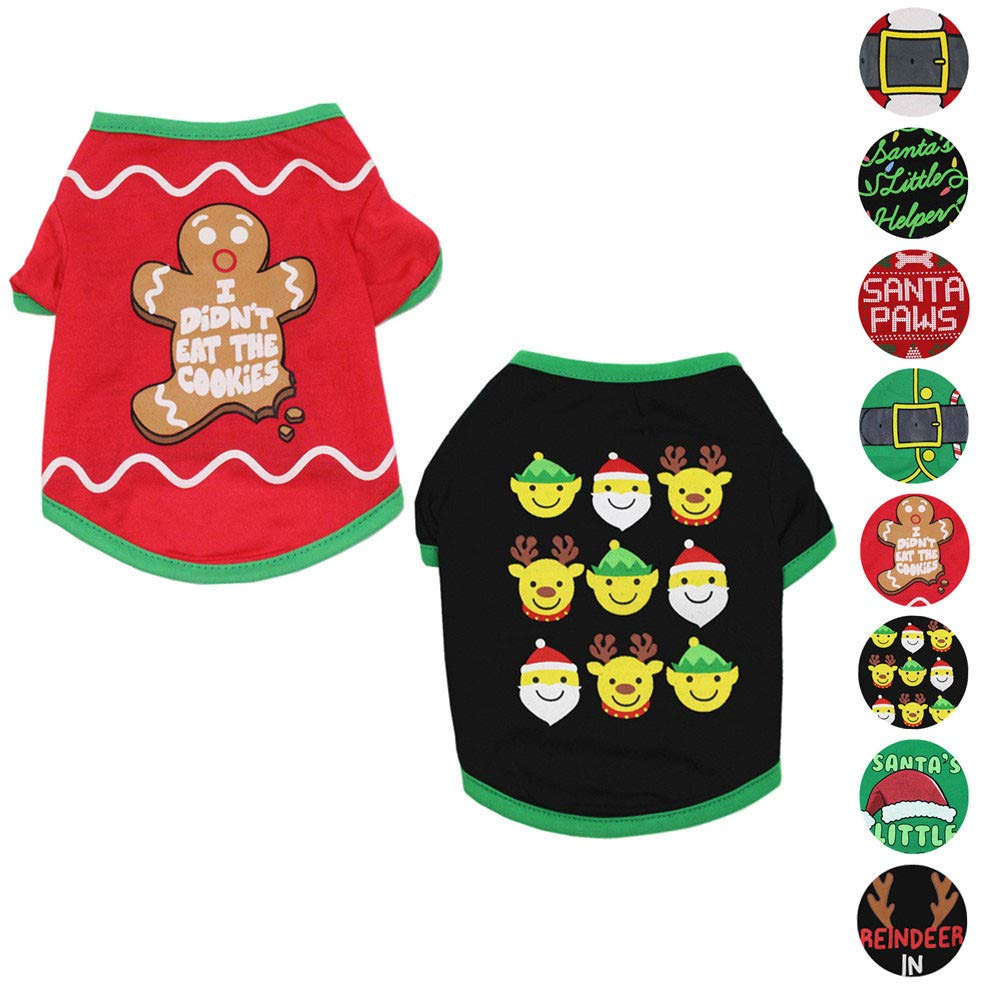 Pack of 2 (No. 3) XS (2.24.4lbs) Pack of 2 (No. 3) XS (2.24.4lbs) Alroman Dogs Christmas Shirts Snowflakes Clothes Pet Santa Claus Suit Puppy Red Clothing Doggie Winter Apparel Cold Weather Coats Cat Xmas Costumes New (XS (2.24.4lbs), Pack of 2 (No. 3)