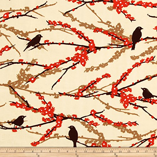 Aviary 2 Sparrows Bark Cream Fabric By The Yard