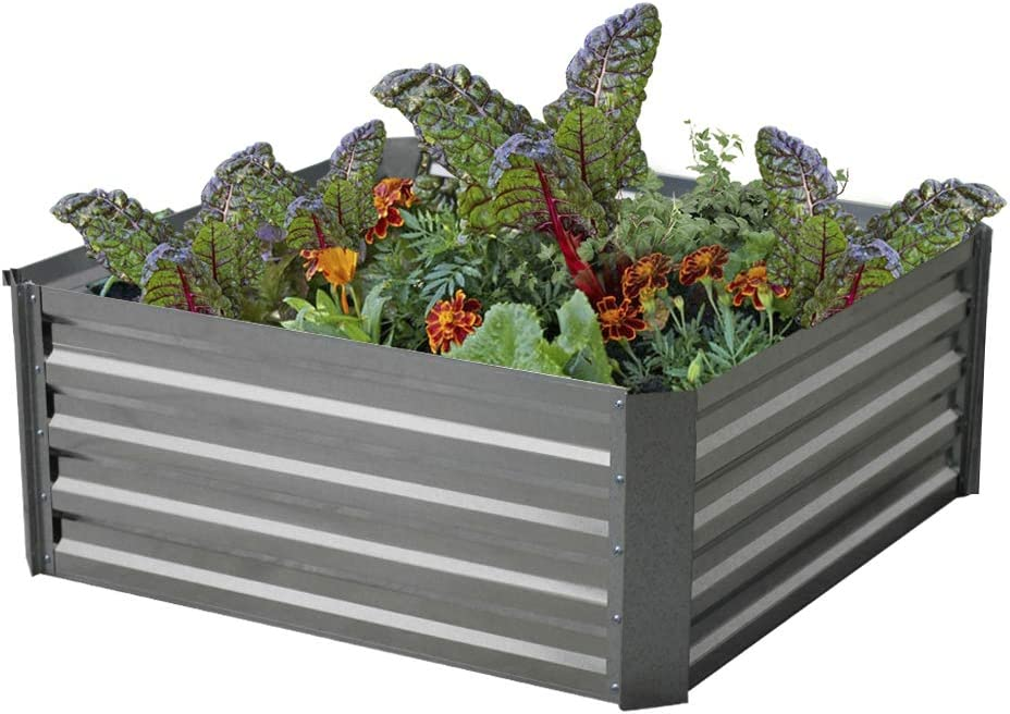 Galvanized Steel Raised Garden Bed Kit Extra Height Elevated Planter Box Steel Large Vegetable Flower Bed Kit (3FT x 3FT x 1.3FT)