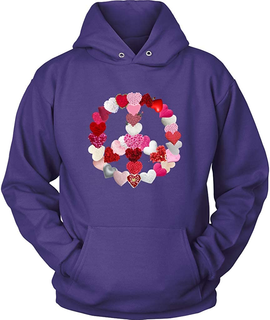 Peace Sign Shirts Valentines Day Hoodie Plus Size Up to 5X Hearts Peace Sign Sweatshirt