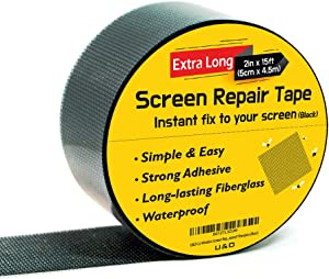 "Screen Repair kit. (Black) 2""x180""(15FT) Window Screen Repair Tape. Premium Strong Adhesive"