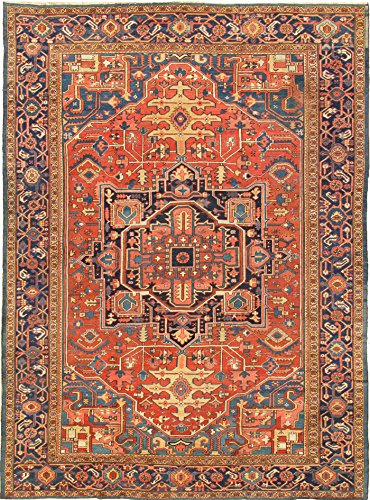 - Pasargad Carpets Antique Heriz Collection Hand Knotted Lamb's Wool Area Rug, 11' 2