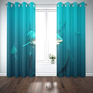 Shorping 52X84 Inch 3D Window Curtains, Privacy Window Curtain Oceanic Black Tip Shark Window Blackout Curtains for Bedroom,2 Pc
