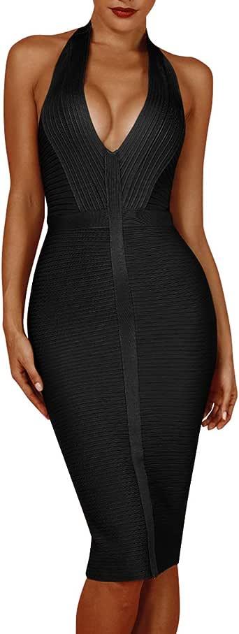 whoinshop Women 's Sexy Halter Deep V Neck Club Party Bandage Dress