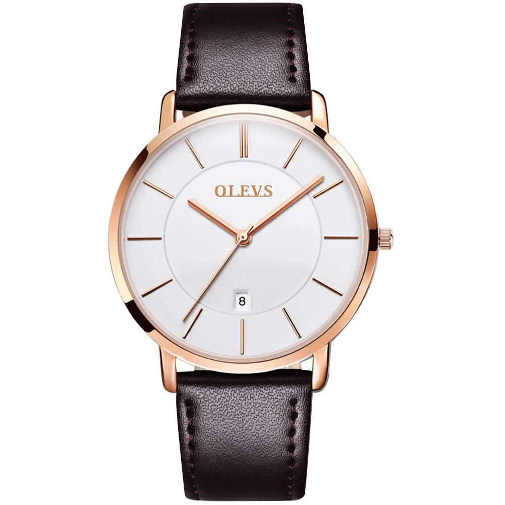 OLEVS Men's Ultra-Thin Quartz Analog Wrist Watch with Black/Brown/Khaki Leather Strap, Business Casual Fashion Watch Classic Calendar Date Window, 30M Water Resistant