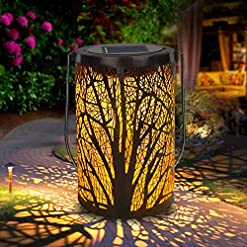 Garden and Outdoor Solar Lantern Outdoor Lights for Decorative Atmosphere Hanging Garden Lantern Cylindrical Table Lamp Night Light Warm… outdoor lighting