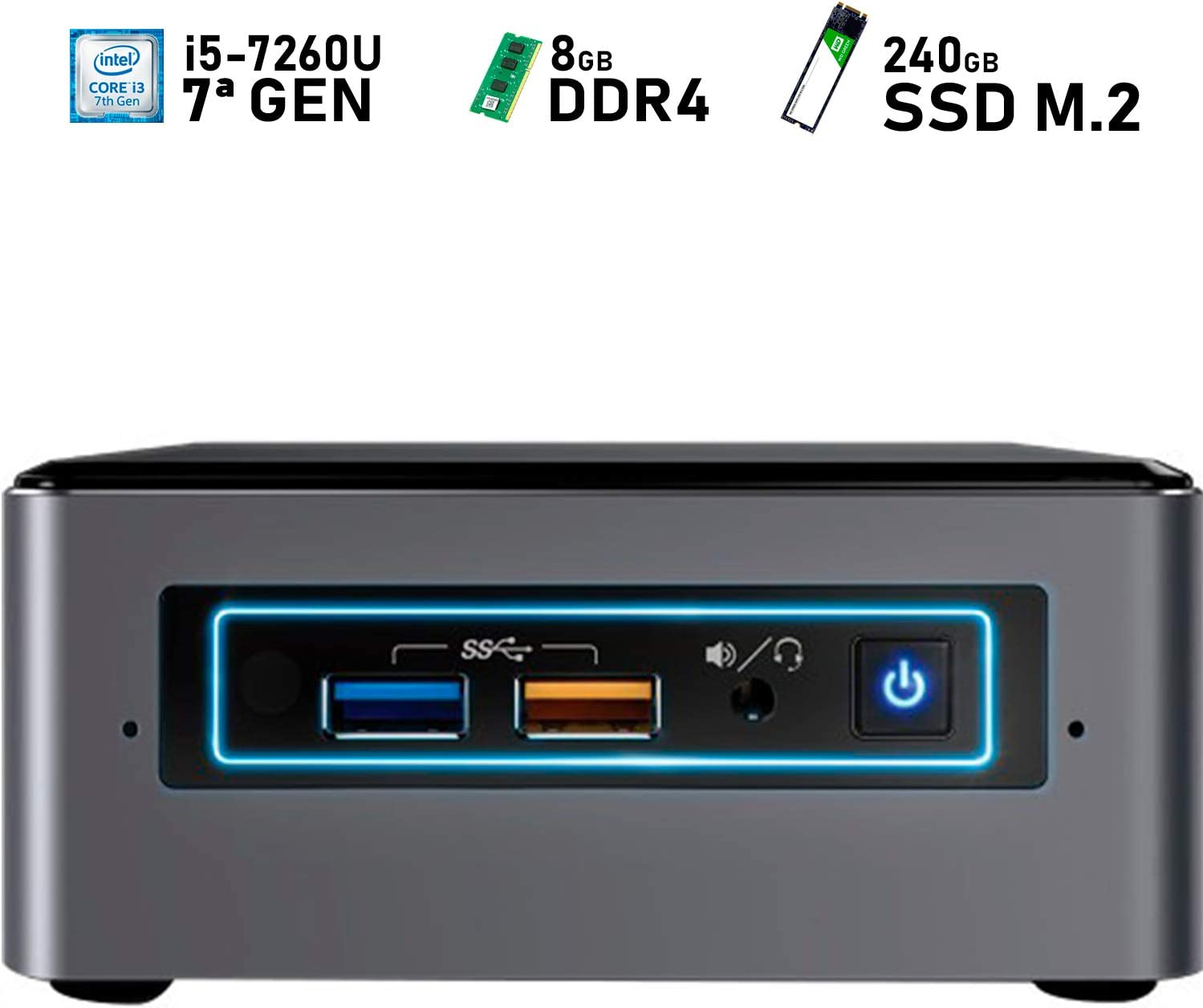 Intel NUC i5-7260U + 8GB DDR4 + 240GB SSD M.2 + Windows 10 Pro ...