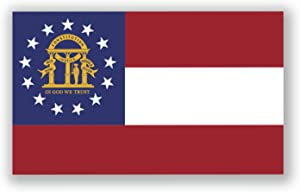 2-Pack Georgia State Flag Decal Stickers | Official Flag of Georgia Stickers | 5-Inches by 3-Inches | Premium Quality Vinyl | PD316