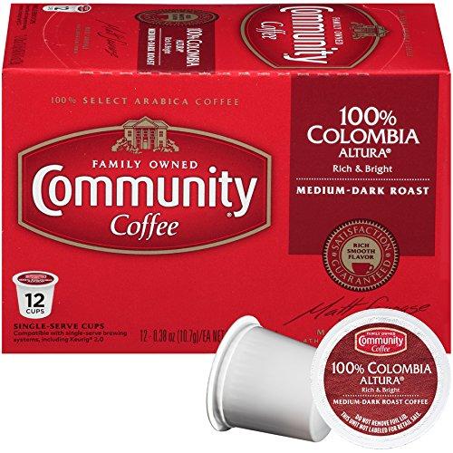 Community Coffee Colombia Altura Medium Dark Roast Single Serve, 12 Ct Box, Compatible with Keurig 2.0 K Cup Brewers, Medium Full Body Rich Bright Taste, 100% Arabica Coffee Beans