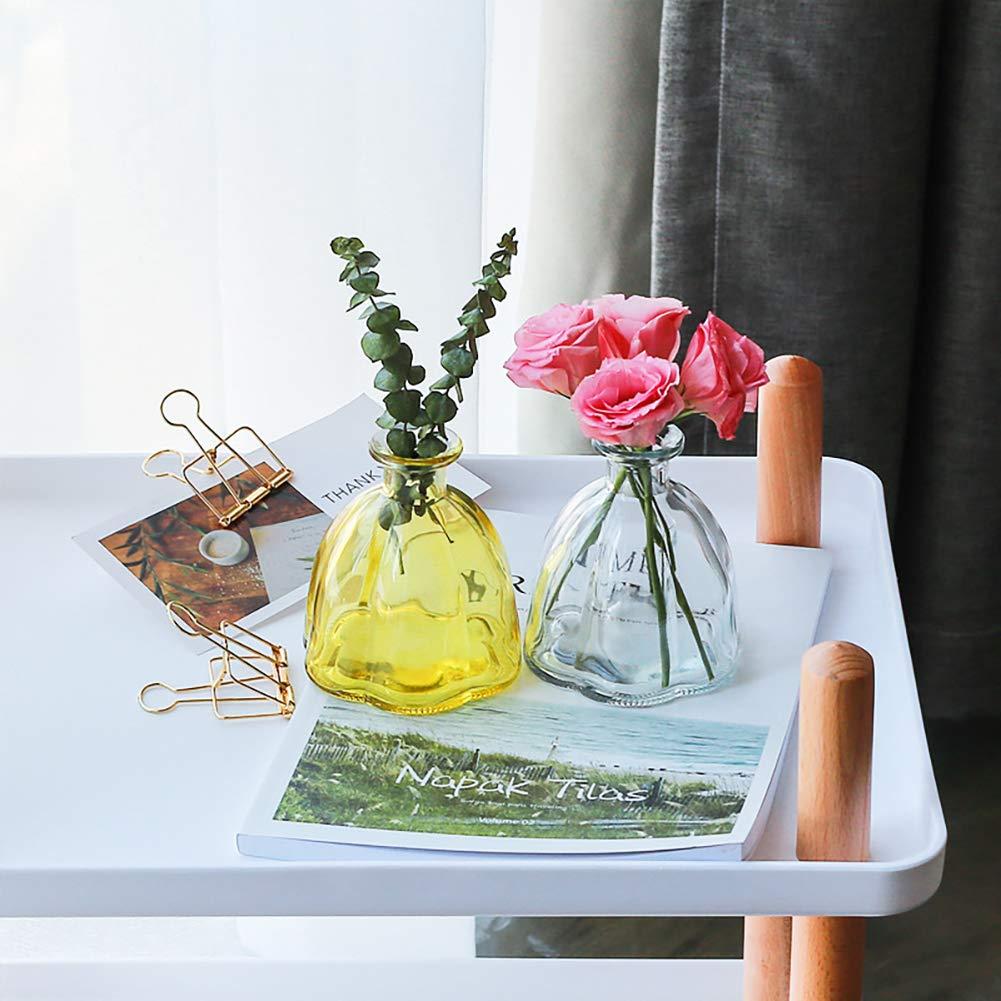 Meltset M Lot de 2 vases en Verre pour Fleurs Petits vases pour centres de Table Clear+Grey Taille Unique Verre