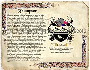 thompson coat of arms family crest on fine paper and family history buy 1 get 1. Black Bedroom Furniture Sets. Home Design Ideas