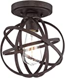 "Industrial Atom 8"" Wide Edison Bronze Ceiling Light"