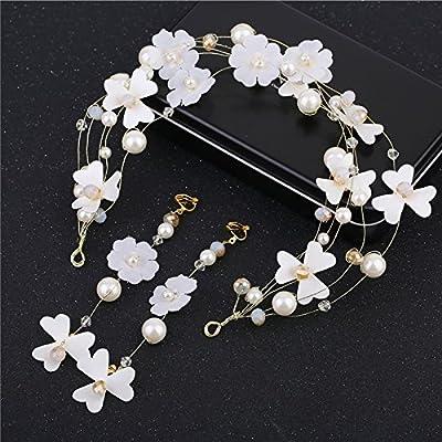 GTVERNH Mariée Frises White Pearl String Fils De Soie Ruban Fleurs Bijoux De Mariage Boucles D'Oreilles.