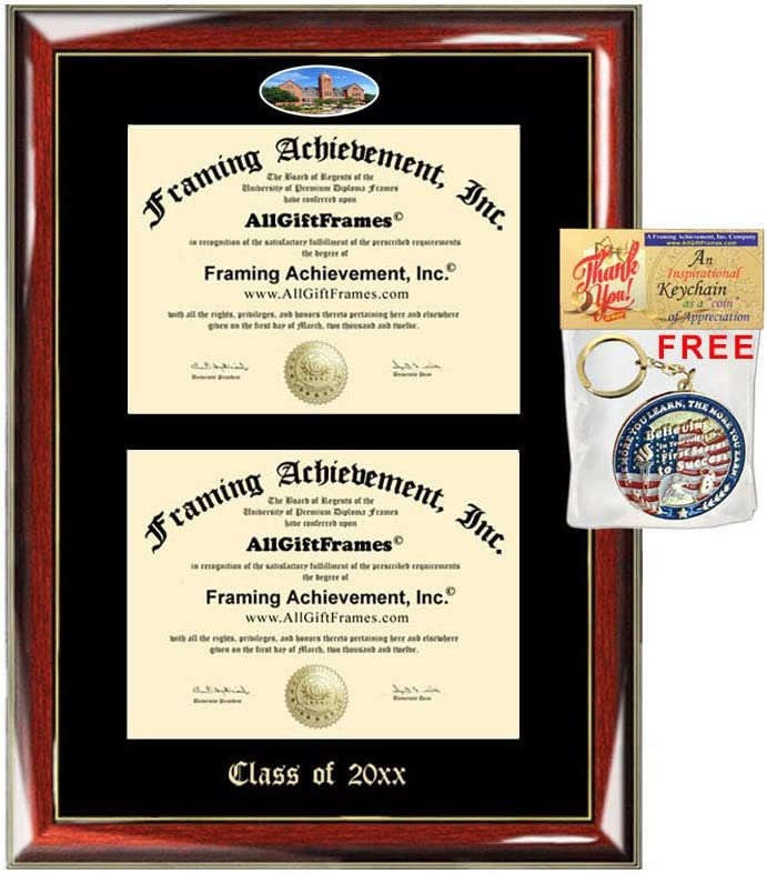 Allgiftframes Double Certificate Frame Uco University Of Central Oklahoma School Embossed Fisheye Campus Photo Dual School Two College Majors Custom Diploma Holder