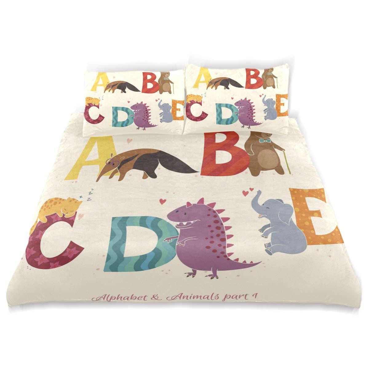 SUABO 3ピース羽毛布団カバーツイン寝具セット ソフト英語アルファベットキルトベッドカバー 子供用 B07LF6D6P2