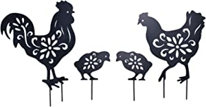 YEAHOME Rooster Garden Metal Stakes - Black Rooster Silhouette Stake for Yards, Gardens - Set of 4 Metal Animal Stakes, Easter Gifts for Kids
