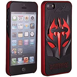 Areion 3D Batman Mask Inspired Hardized Snap On Hard Case Cover for iPhone 5 / iPhone 5S (Red)