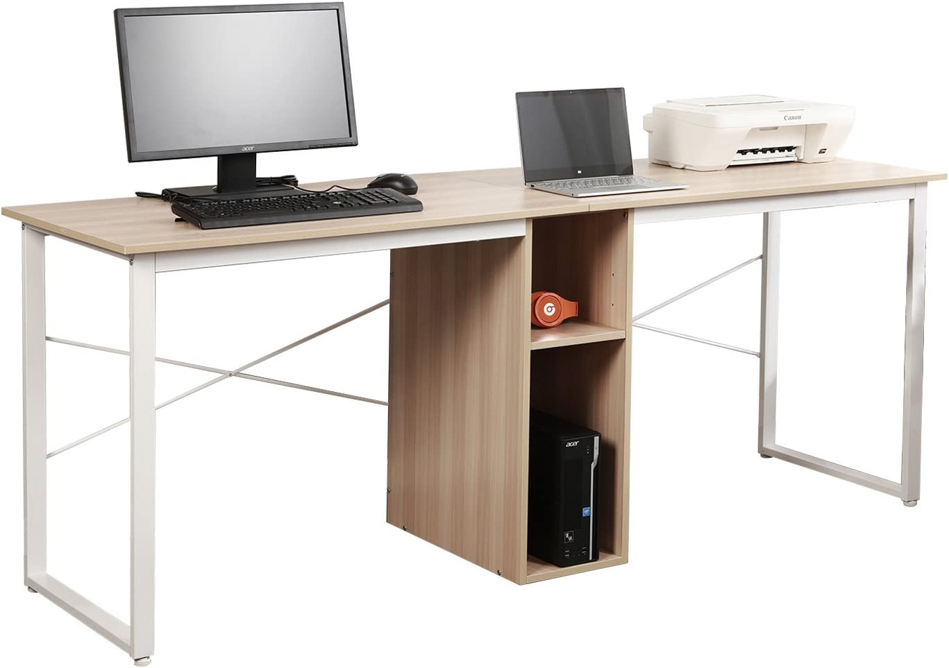 Soges 2 Person Home Office Desk 78inches Large Double Workstation Desk Writing Desk With Storage White Oak Hz011 200 Mo Ca Amazon Ca Home Kitchen