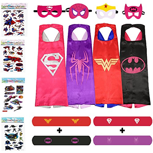 Grandma Costume For Girls (Superhero Costumes For Girls – 4 Capes and Masks + 4 Superhero Stickers + 4 Bracelets – Dress Up Kids Toys)