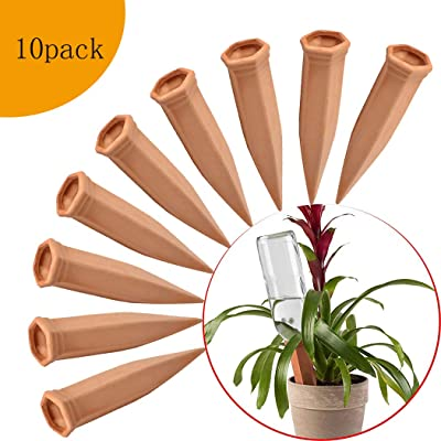 FAMILy Plant Watering Stakes10 Pack Automatic Plant Waterers for Vacations, Plant Watering Devices Terracotta Self Watering Spikes for Wine Bottles Great Plant Nanny for Indoor & Outdoor Plants: Garden & Outdoor